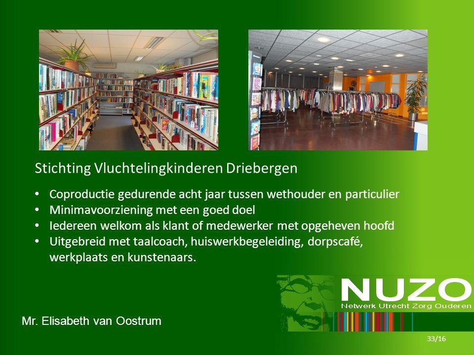 Mr. Elisabeth van Oostrum 33/16 Stichting Vluchtelingkinderen Driebergen Coproductie gedurende acht jaar tussen wethouder en particulier Minimavoorzie