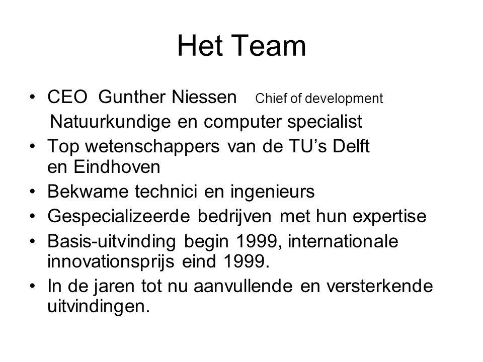 Het Team CEO Gunther Niessen Chief of development Natuurkundige en computer specialist Top wetenschappers van de TU's Delft en Eindhoven Bekwame techn