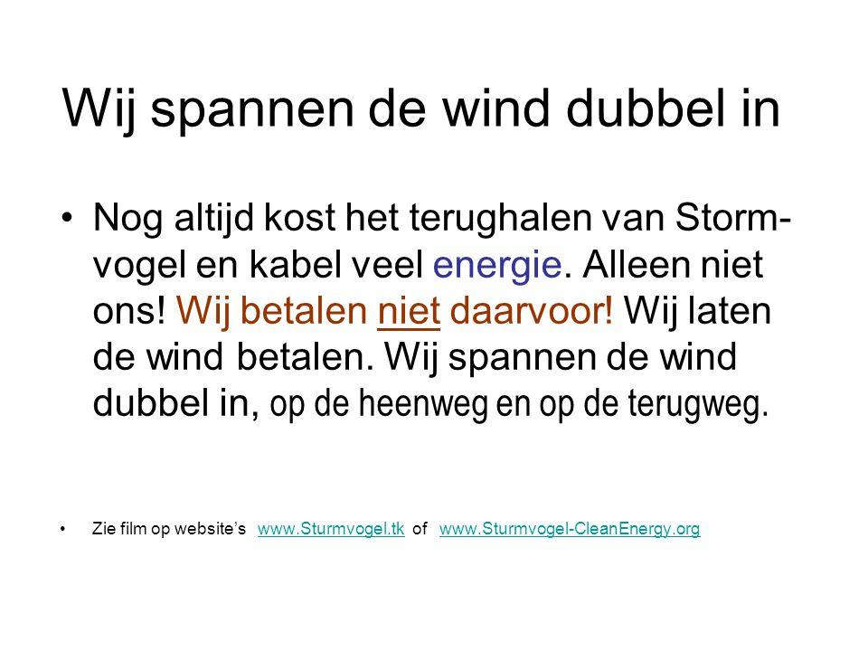 Wij spannen de wind dubbel in Nog altijd kost het terughalen van Storm- vogel en kabel veel energie. Alleen niet ons! Wij betalen niet daarvoor! Wij l