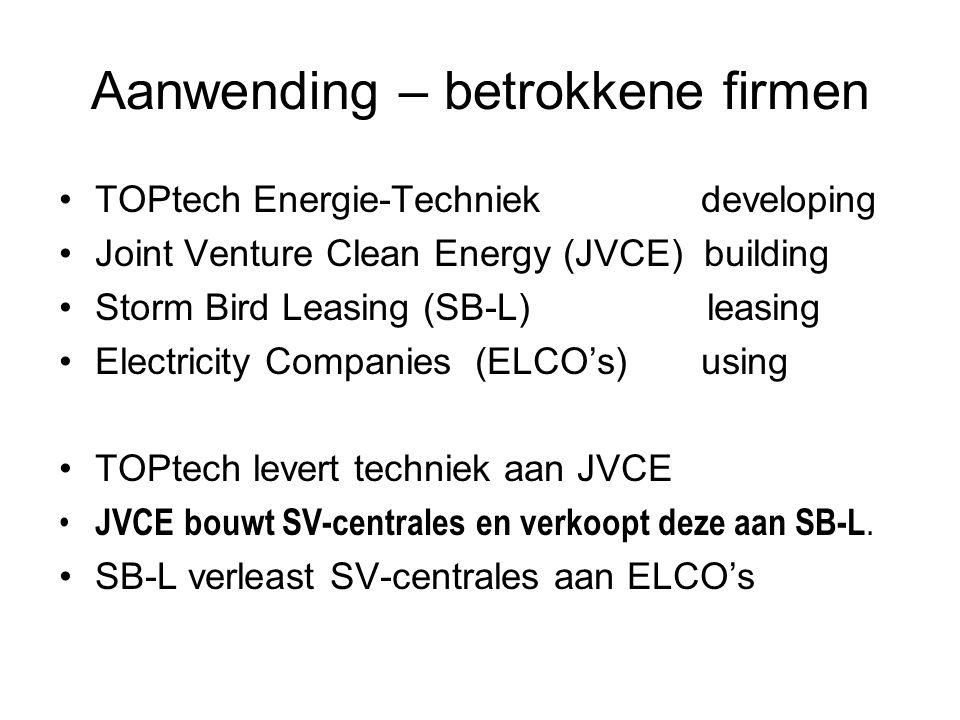 Aanwending – betrokkene firmen TOPtech Energie-Techniek developing Joint Venture Clean Energy (JVCE) building Storm Bird Leasing (SB-L) leasing Electr