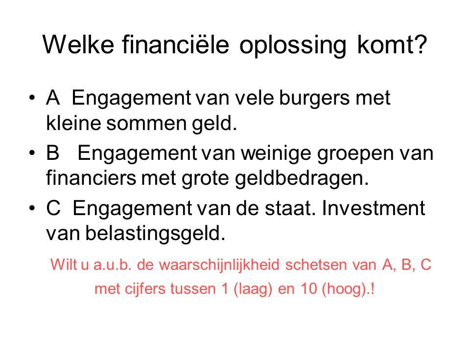 Welke financiële oplossing komt? A Engagement van vele burgers met kleine sommen geld. B Engagement van weinige groepen van financiers met grote geldb