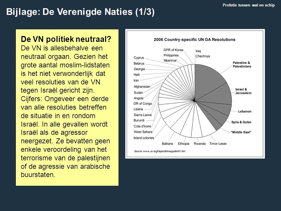 Bijlage: De Verenigde Naties (1/3) Profetie tussen wal en schip De VN politiek neutraal? De VN is allesbehalve een neutraal orgaan. Gezien het grote a