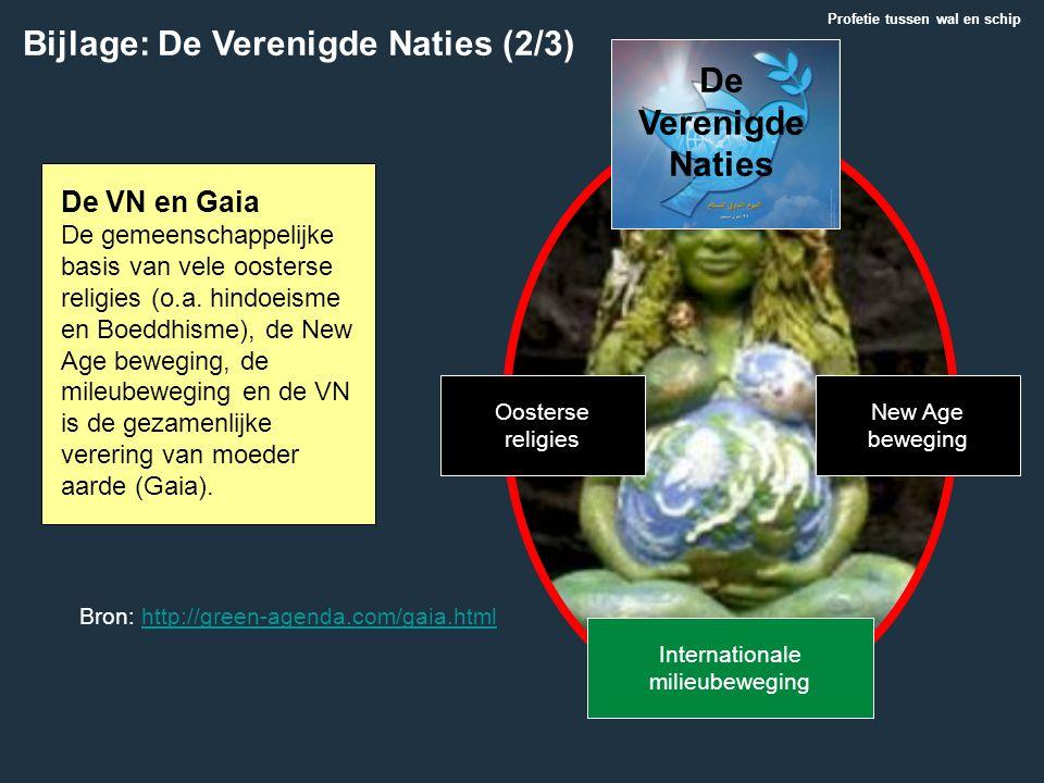 Bijlage: De Verenigde Naties (2/3) Profetie tussen wal en schip De VN en Gaia De gemeenschappelijke basis van vele oosterse religies (o.a. hindoeisme