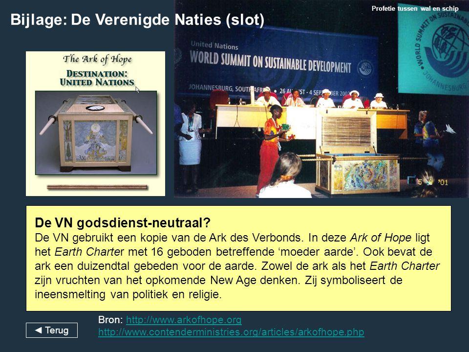 Bijlage: De Verenigde Naties (slot) Profetie tussen wal en schip De VN godsdienst-neutraal? De VN gebruikt een kopie van de Ark des Verbonds. In deze
