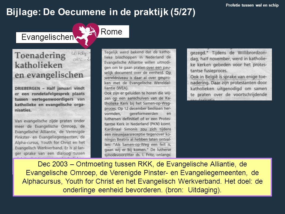 Dec 2003 – Ontmoeting tussen RKK, de Evangelische Alliantie, de Evangelische Omroep, de Verenigde Pinster- en Evangeliegemeenten, de Alphacursus, Yout