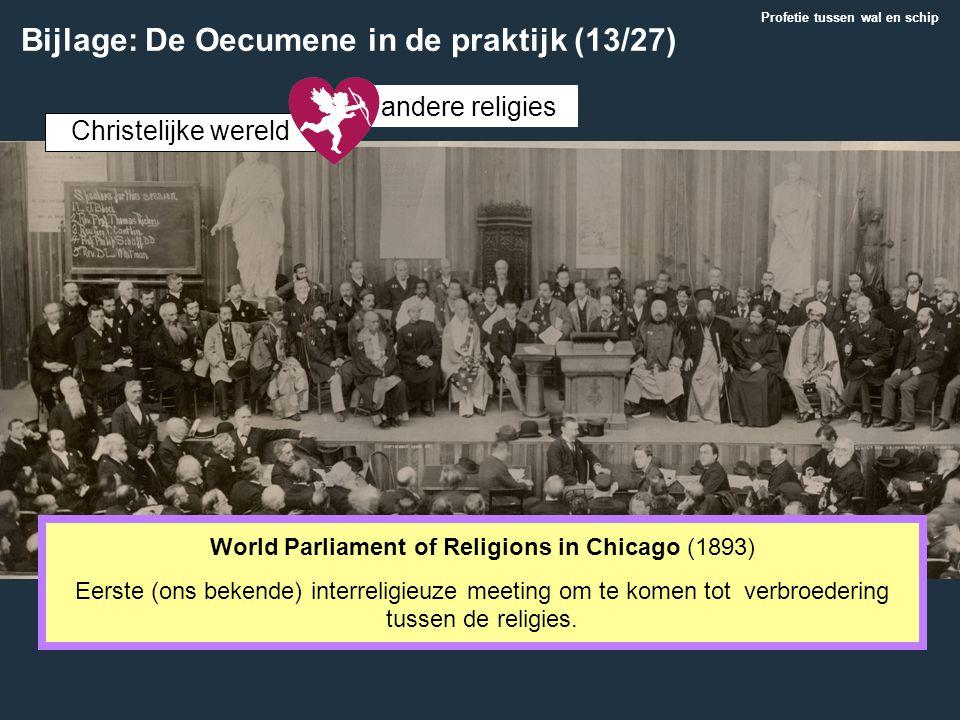 Christelijke wereld andere religies World Parliament of Religions in Chicago (1893) Eerste (ons bekende) interreligieuze meeting om te komen tot verbr