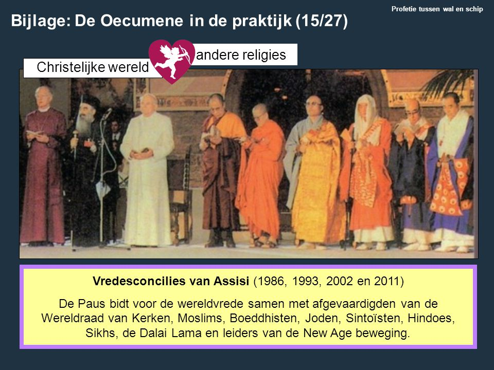 Vredesconcilies van Assisi (1986, 1993, 2002 en 2011) De Paus bidt voor de wereldvrede samen met afgevaardigden van de Wereldraad van Kerken, Moslims,