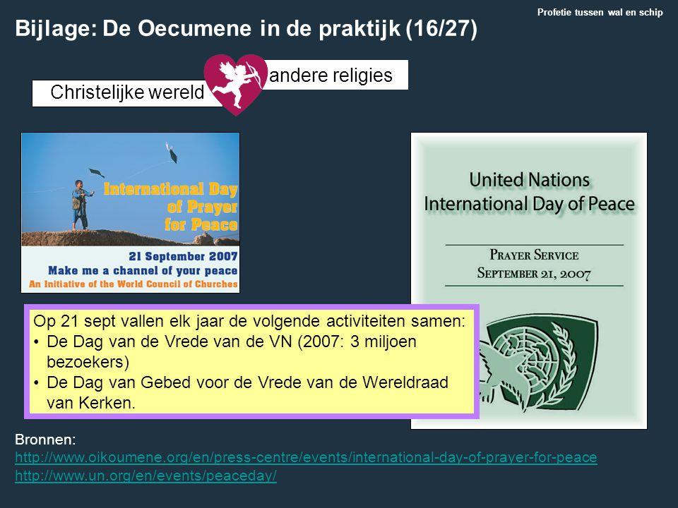 Christelijke wereld andere religies Bronnen: http://www.oikoumene.org/en/press-centre/events/international-day-of-prayer-for-peace http://www.un.org/e