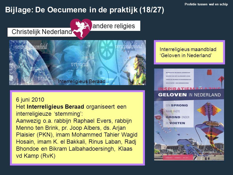 Christelijk Nederland andere religies 6 juni 2010 Het Interreligieus Beraad organiseert een interreligieuze 'stemming': Aanwezig o.a. rabbijn Raphael