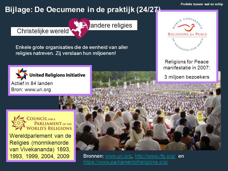 Religions for Peace manifestatie in 2007: 3 miljoen bezoekers Actief in 84 landen Bron: www.uri.org Christelijke wereld andere religies Wereldparlemen
