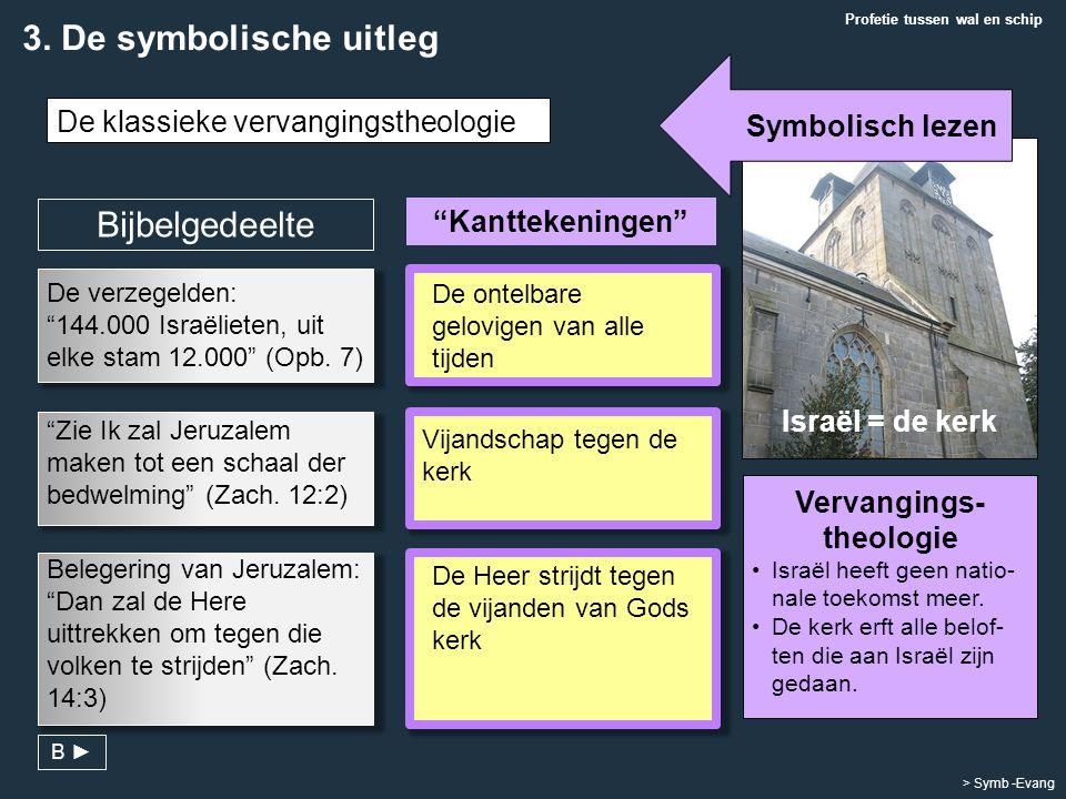 """""""Kanttekeningen"""" Vervangings- theologie Israël heeft geen natio- nale toekomst meer. De kerk erft alle belof- ten die aan Israël zijn gedaan. Israël ="""