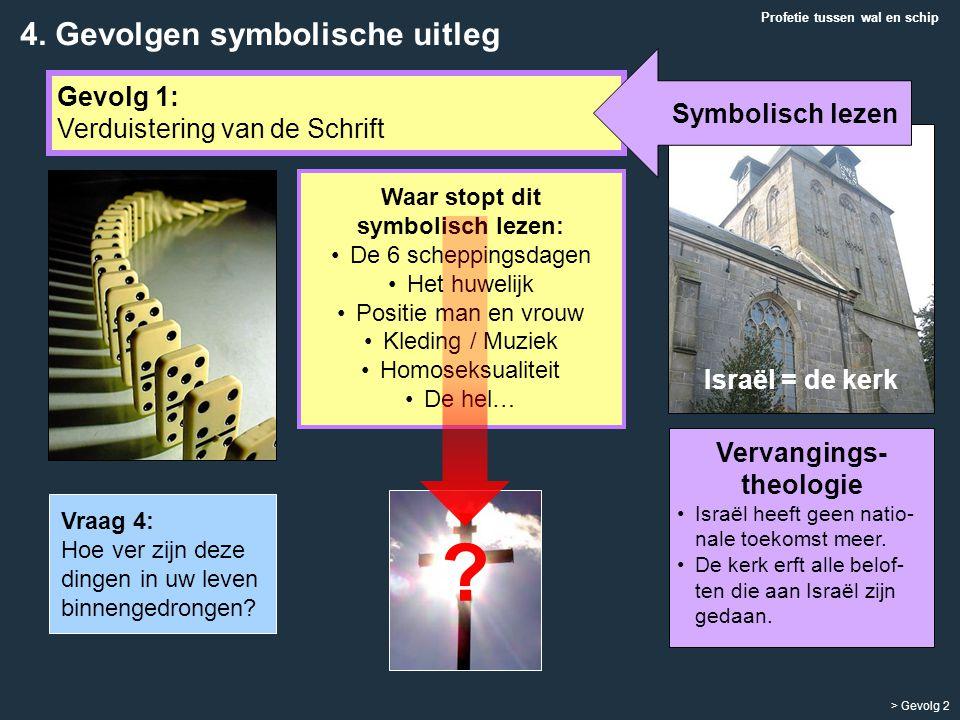 Vervangings- theologie Israël heeft geen natio- nale toekomst meer. De kerk erft alle belof- ten die aan Israël zijn gedaan. Israël = de kerk Profetie