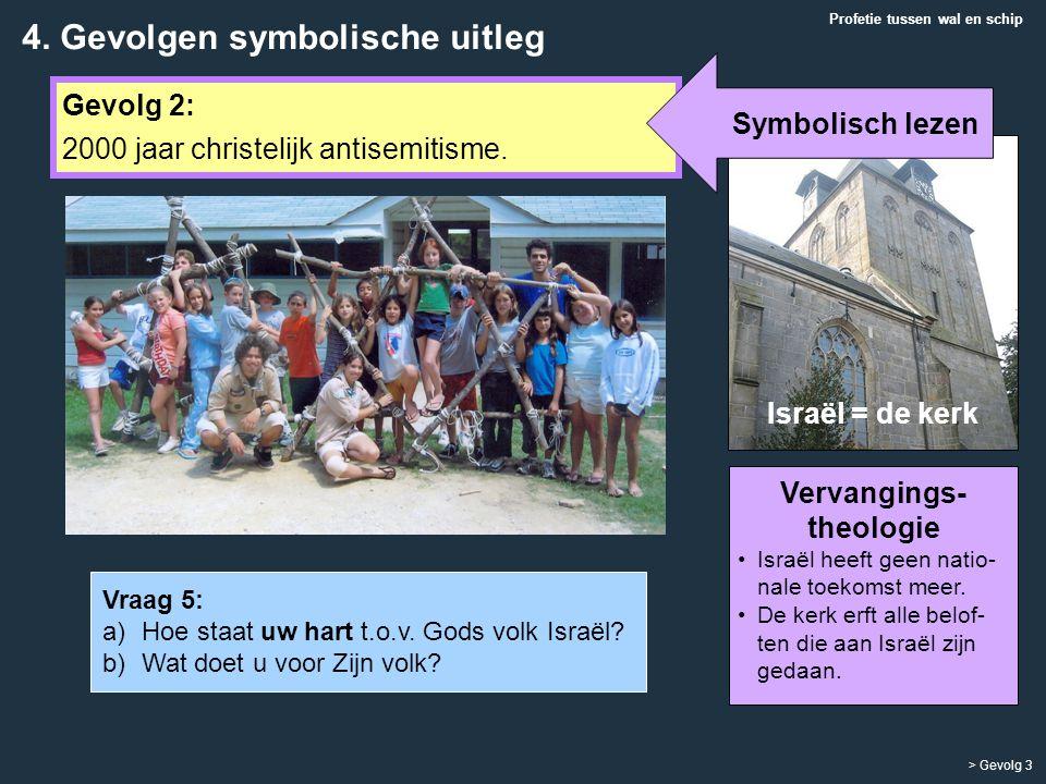 Gevolg 2: 2000 jaar christelijk antisemitisme. Profetie tussen wal en schip > Gevolg 3 Vervangings- theologie Israël heeft geen natio- nale toekomst m