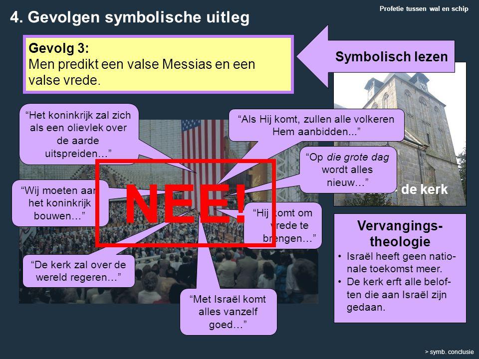 Profetie tussen wal en schip > symb. conclusie Gevolg 3: Men predikt een valse Messias en een valse vrede. Vervangings- theologie Israël heeft geen na