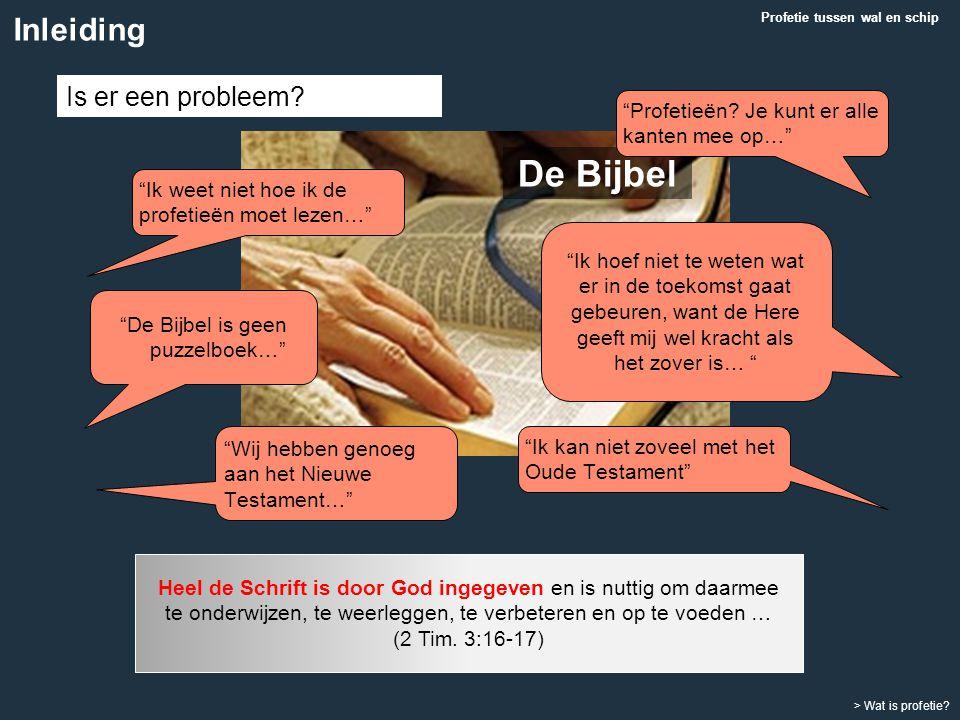 """""""Ik weet niet hoe ik de profetieën moet lezen…"""" Profetie tussen wal en schip Heel de Schrift is door God ingegeven en is nuttig om daarmee te onderwij"""