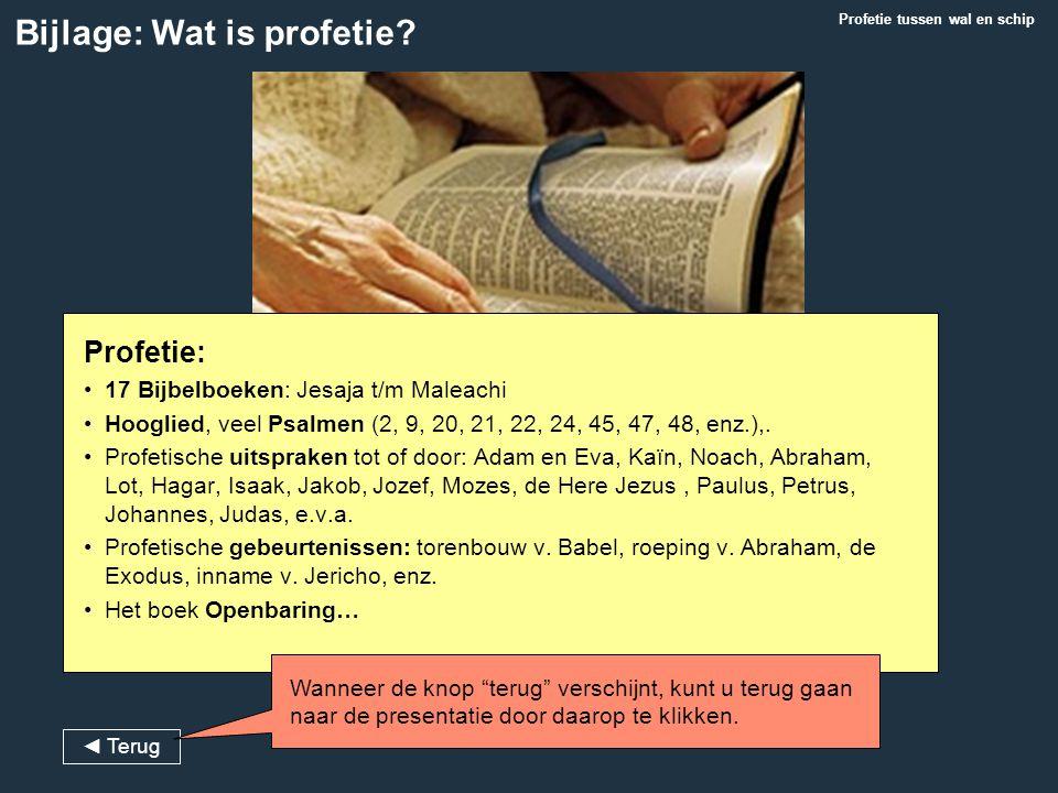 Profetie: 17 Bijbelboeken: Jesaja t/m Maleachi Hooglied, veel Psalmen (2, 9, 20, 21, 22, 24, 45, 47, 48, enz.),. Profetische uitspraken tot of door: A
