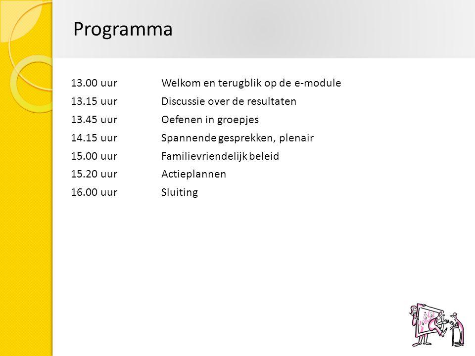 Programma 13.00 uurWelkom en terugblik op de e-module 13.15 uur Discussie over de resultaten 13.45 uurOefenen in groepjes 14.15 uurSpannende gesprekke