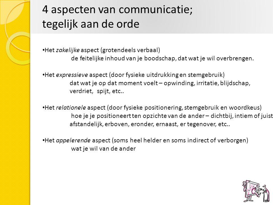 4 aspecten van communicatie; tegelijk aan de orde Het zakelijke aspect (grotendeels verbaal) de feitelijke inhoud van je boodschap, dat wat je wil ove