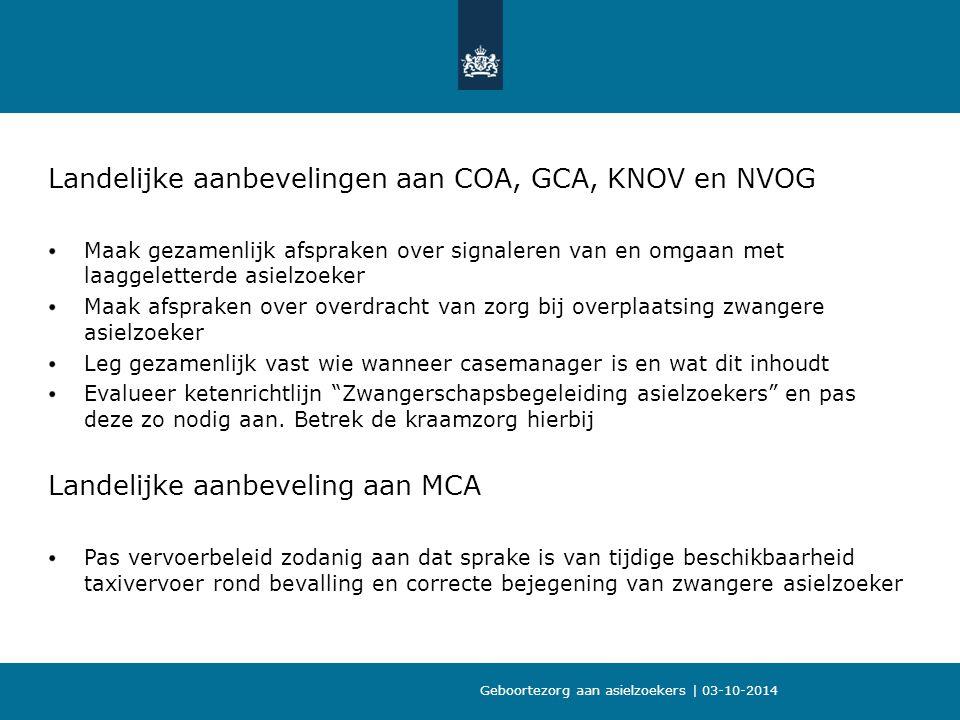 Landelijke aanbevelingen aan COA, GCA, KNOV en NVOG Maak gezamenlijk afspraken over signaleren van en omgaan met laaggeletterde asielzoeker Maak afspraken over overdracht van zorg bij overplaatsing zwangere asielzoeker Leg gezamenlijk vast wie wanneer casemanager is en wat dit inhoudt Evalueer ketenrichtlijn Zwangerschapsbegeleiding asielzoekers en pas deze zo nodig aan.