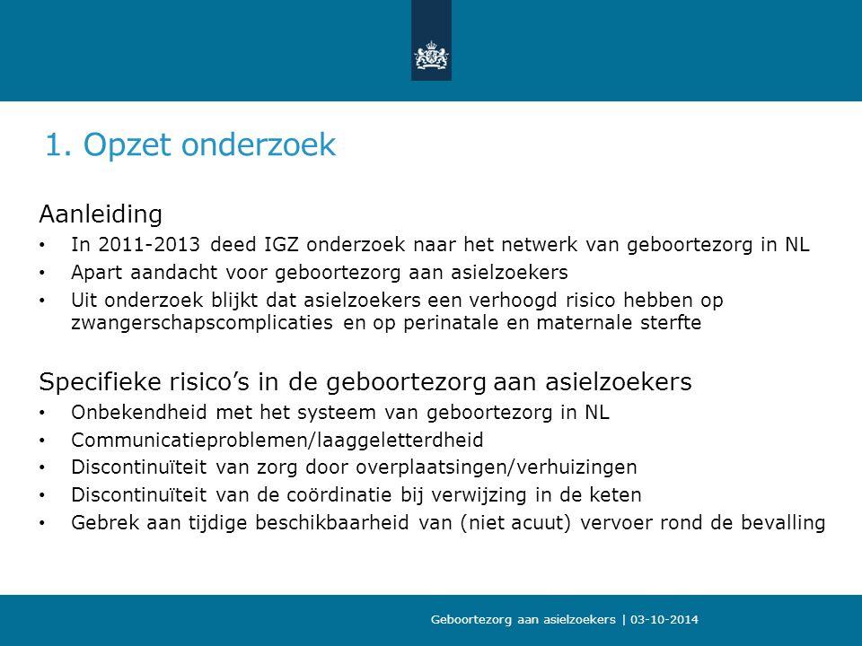 1. Opzet onderzoek Aanleiding In 2011-2013 deed IGZ onderzoek naar het netwerk van geboortezorg in NL Apart aandacht voor geboortezorg aan asielzoeker
