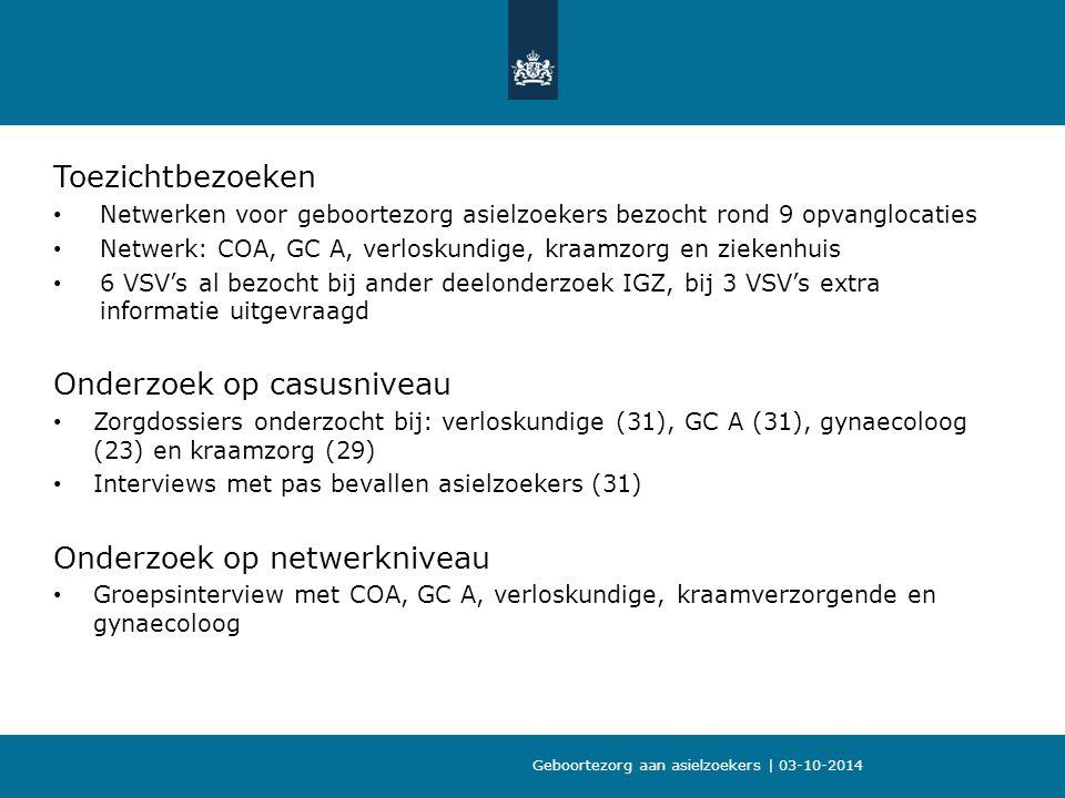Toezichtbezoeken Netwerken voor geboortezorg asielzoekers bezocht rond 9 opvanglocaties Netwerk: COA, GC A, verloskundige, kraamzorg en ziekenhuis 6 VSV's al bezocht bij ander deelonderzoek IGZ, bij 3 VSV's extra informatie uitgevraagd Onderzoek op casusniveau Zorgdossiers onderzocht bij: verloskundige (31), GC A (31), gynaecoloog (23) en kraamzorg (29) Interviews met pas bevallen asielzoekers (31) Onderzoek op netwerkniveau Groepsinterview met COA, GC A, verloskundige, kraamverzorgende en gynaecoloog Geboortezorg aan asielzoekers | 03-10-2014