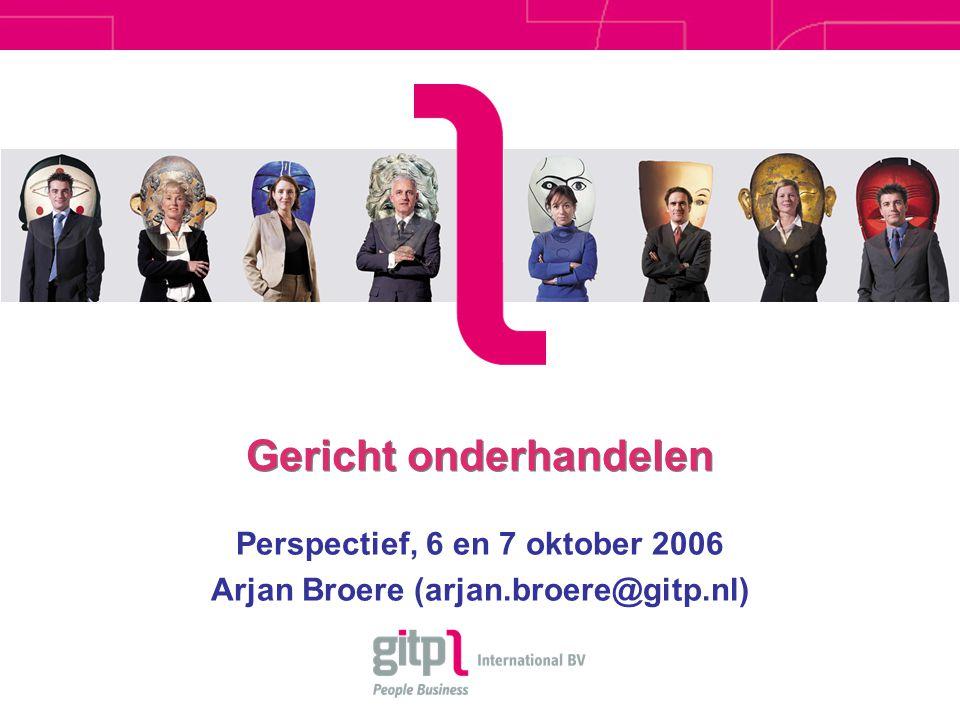 Gericht onderhandelen Perspectief, 6 en 7 oktober 2006 Arjan Broere (arjan.broere@gitp.nl)
