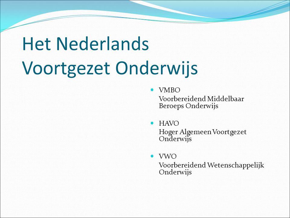 Het Nederlands Voortgezet Onderwijs VMBO Voorbereidend Middelbaar Beroeps Onderwijs HAVO Hoger Algemeen Voortgezet Onderwijs VWO Voorbereidend Wetenschappelijk Onderwijs
