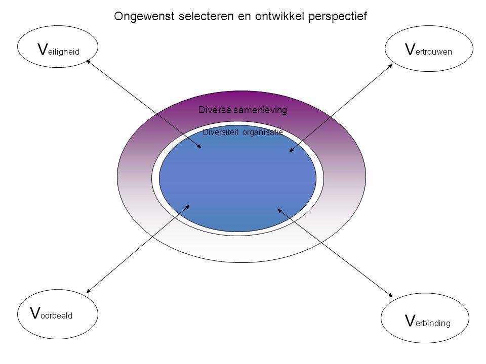 V erbinding V ertrouwen V eiligheid Diverse samenleving Diversiteit organisatie V oorbeeld Ongewenst selecteren en ontwikkel perspectief