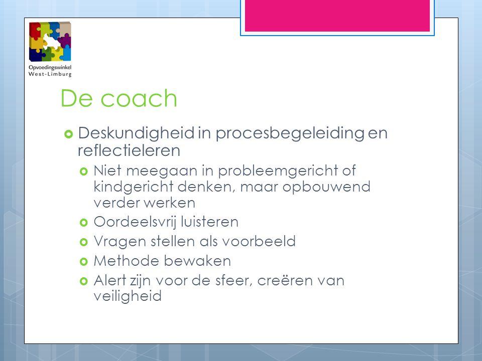 De coach  Deskundigheid in procesbegeleiding en reflectieleren  Niet meegaan in probleemgericht of kindgericht denken, maar opbouwend verder werken