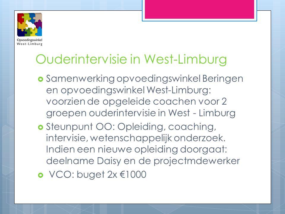 Ouderintervisie in West-Limburg  Samenwerking opvoedingswinkel Beringen en opvoedingswinkel West-Limburg: voorzien de opgeleide coachen voor 2 groepe