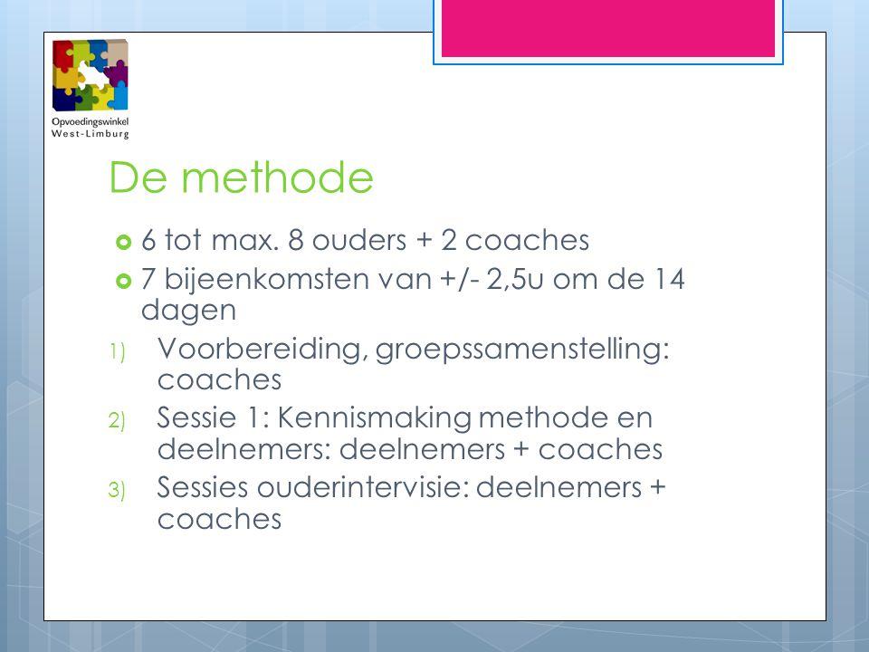 De methode  6 tot max. 8 ouders + 2 coaches  7 bijeenkomsten van +/- 2,5u om de 14 dagen 1) Voorbereiding, groepssamenstelling: coaches 2) Sessie 1: