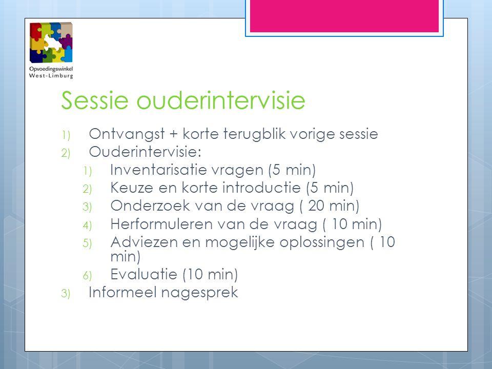 Sessie ouderintervisie 1) Ontvangst + korte terugblik vorige sessie 2) Ouderintervisie: 1) Inventarisatie vragen (5 min) 2) Keuze en korte introductie