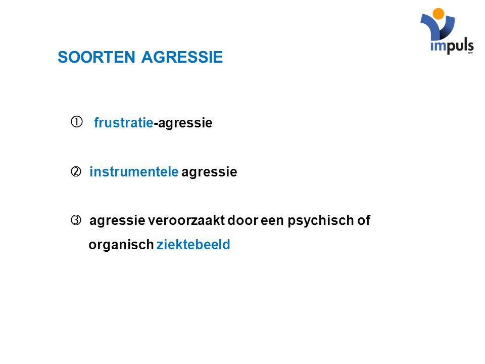 SOORTEN AGRESSIE  frustratie-agressie  instrumentele agressie  agressie veroorzaakt door een psychisch of organisch ziektebeeld