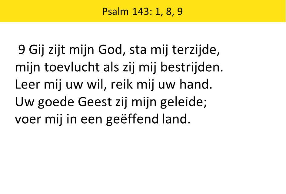 Psalm 143: 1, 8, 9 9 Gij zijt mijn God, sta mij terzijde, mijn toevlucht als zij mij bestrijden. Leer mij uw wil, reik mij uw hand. Uw goede Geest zij