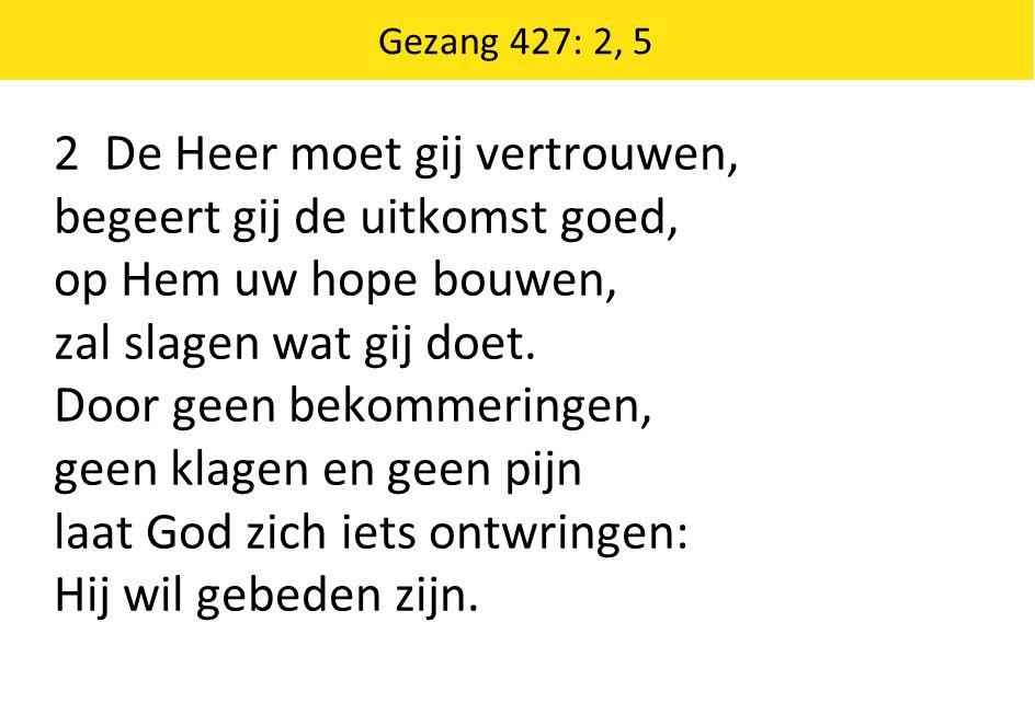 Gezang 427: 2, 5 2 De Heer moet gij vertrouwen, begeert gij de uitkomst goed, op Hem uw hope bouwen, zal slagen wat gij doet. Door geen bekommeringen,