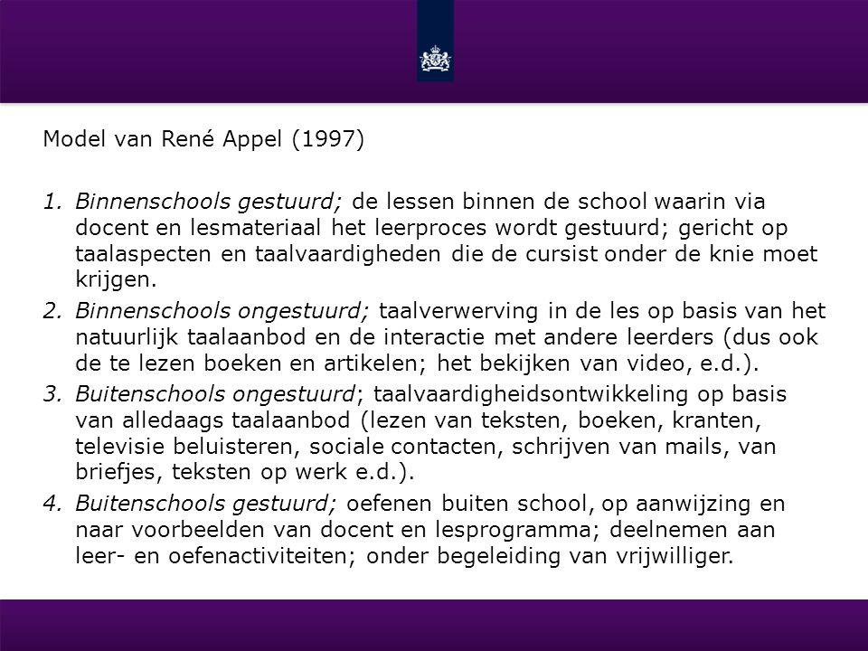 Model van René Appel (1997) 1.Binnenschools gestuurd; de lessen binnen de school waarin via docent en lesmateriaal het leerproces wordt gestuurd; geri
