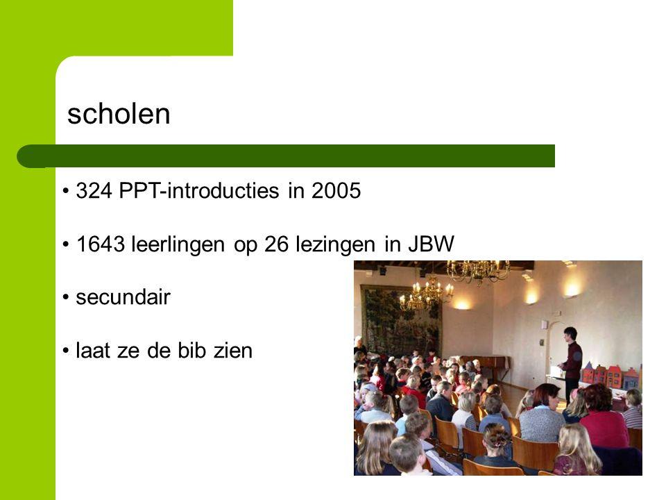 scholen 324 PPT-introducties in 2005 1643 leerlingen op 26 lezingen in JBW secundair laat ze de bib zien