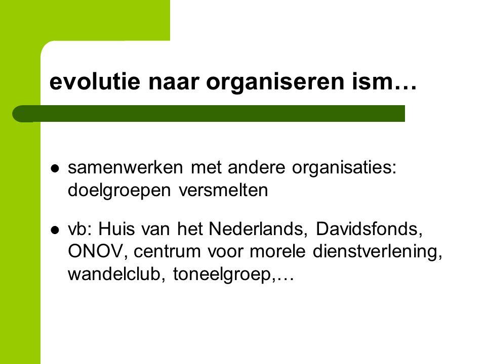 evolutie naar organiseren ism… samenwerken met andere organisaties: doelgroepen versmelten vb: Huis van het Nederlands, Davidsfonds, ONOV, centrum voor morele dienstverlening, wandelclub, toneelgroep,…