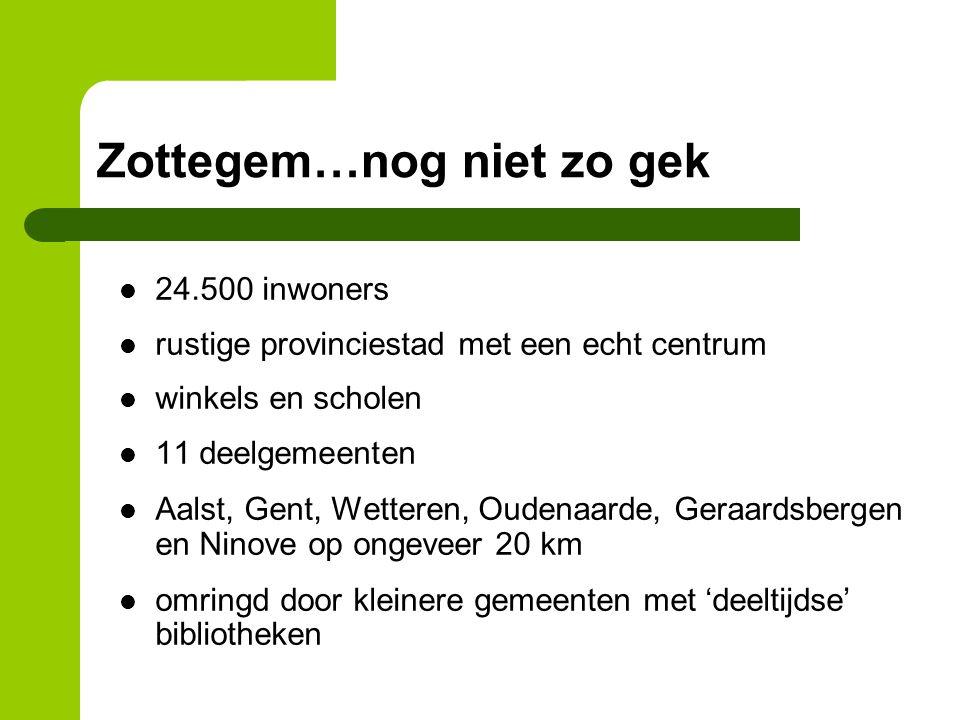 Zottegem…nog niet zo gek 24.500 inwoners rustige provinciestad met een echt centrum winkels en scholen 11 deelgemeenten Aalst, Gent, Wetteren, Oudenaarde, Geraardsbergen en Ninove op ongeveer 20 km omringd door kleinere gemeenten met 'deeltijdse' bibliotheken