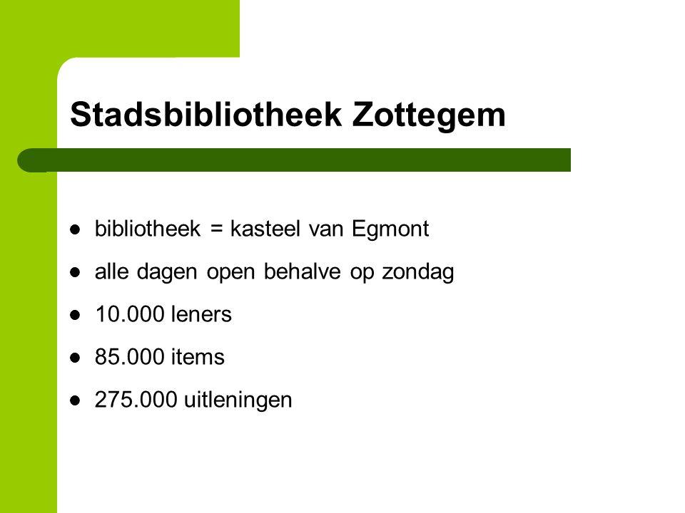 bibliotheek = kasteel van Egmont alle dagen open behalve op zondag 10.000 leners 85.000 items 275.000 uitleningen