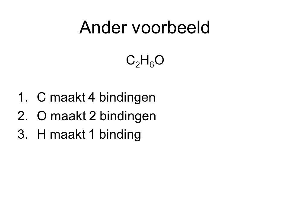Ander voorbeeld C 2 H 6 O 1.C maakt 4 bindingen 2.O maakt 2 bindingen 3.H maakt 1 binding