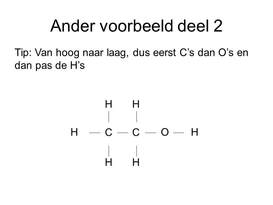 Ander voorbeeld deel 2 C Tip: Van hoog naar laag, dus eerst C's dan O's en dan pas de H's H H OH H