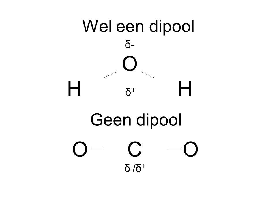 Wel een dipool δ- O H δ + H Geen dipool OCO δ - /δ +