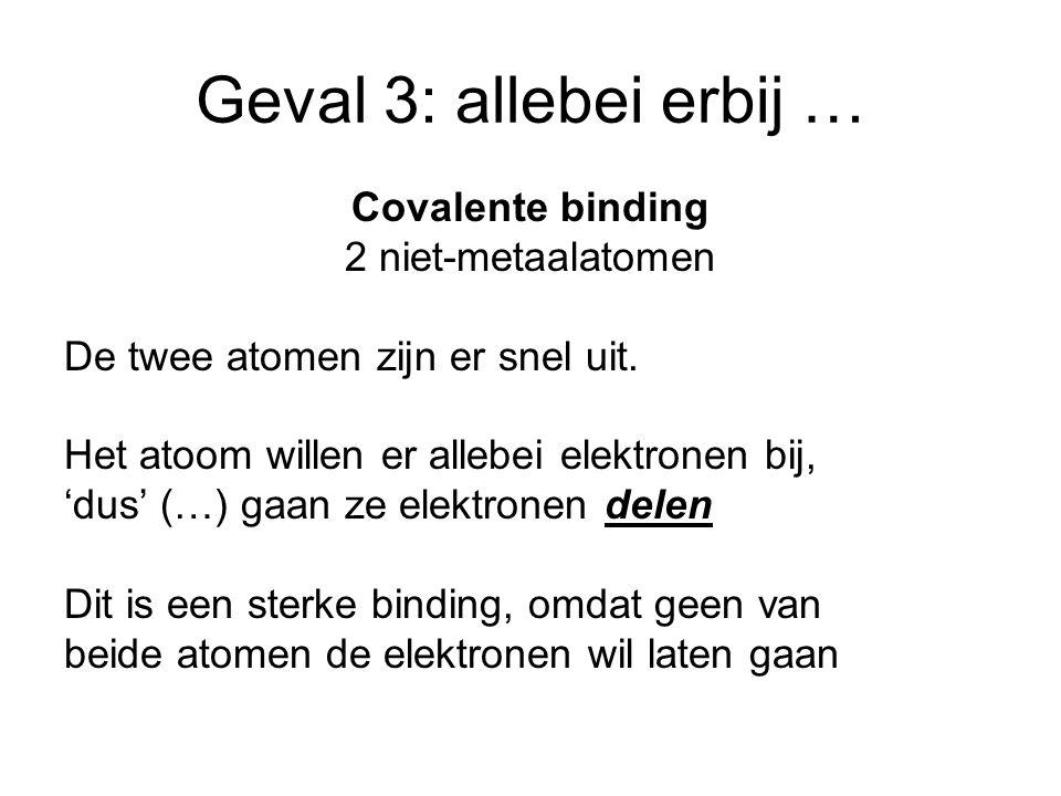 Geval 3: allebei erbij … Covalente binding 2 niet-metaalatomen De twee atomen zijn er snel uit.