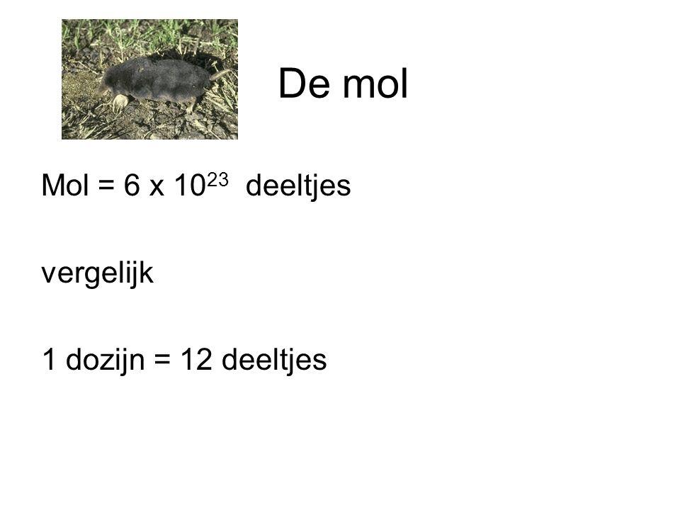 Mol = 6 x 10 23 deeltjes vergelijk 1 dozijn = 12 deeltjes De mol