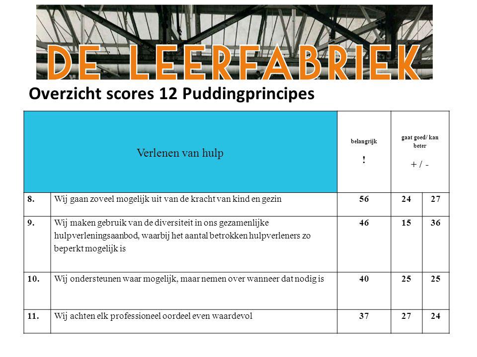 Overzicht scores 12 Puddingprincipes Verlenen van hulp belangrijk .