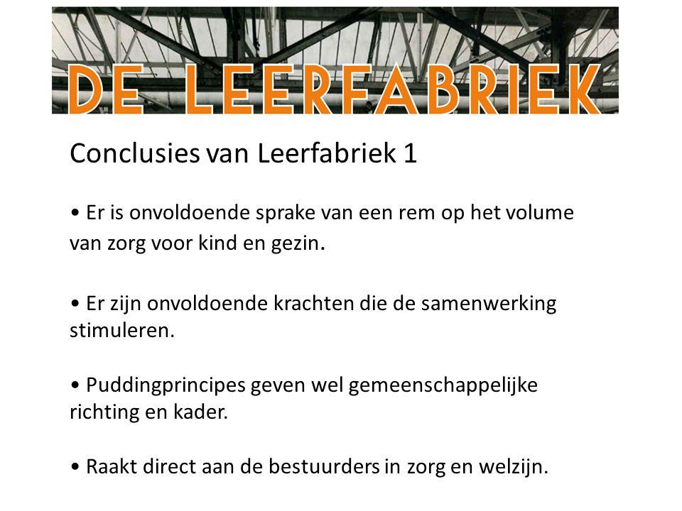 Conclusies van Leerfabriek 1 Er is onvoldoende sprake van een rem op het volume van zorg voor kind en gezin.