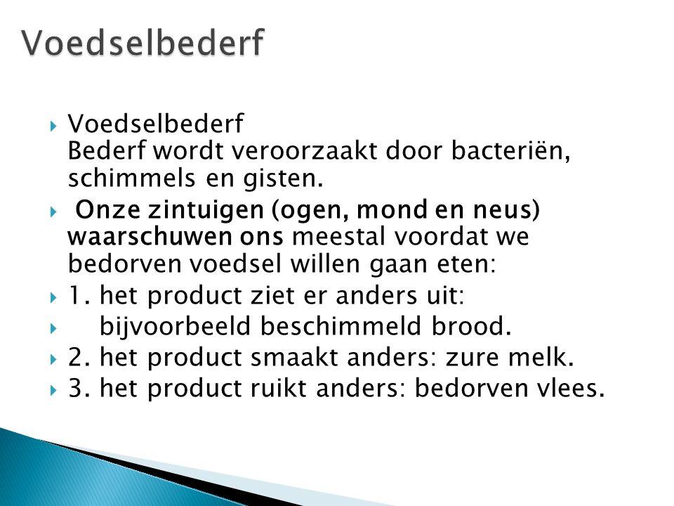  Voedselbederf Bederf wordt veroorzaakt door bacteriën, schimmels en gisten.