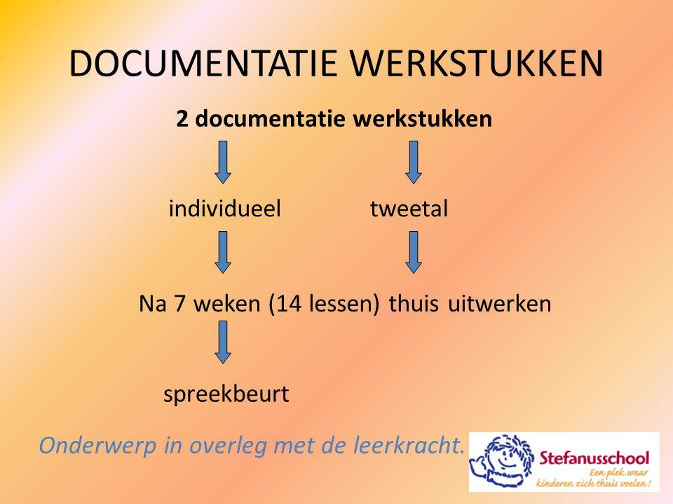 DOCUMENTATIE WERKSTUKKEN 2 documentatie werkstukken individueeltweetal spreekbeurt Na 7 weken (14 lessen) thuis uitwerken Onderwerp in overleg met de