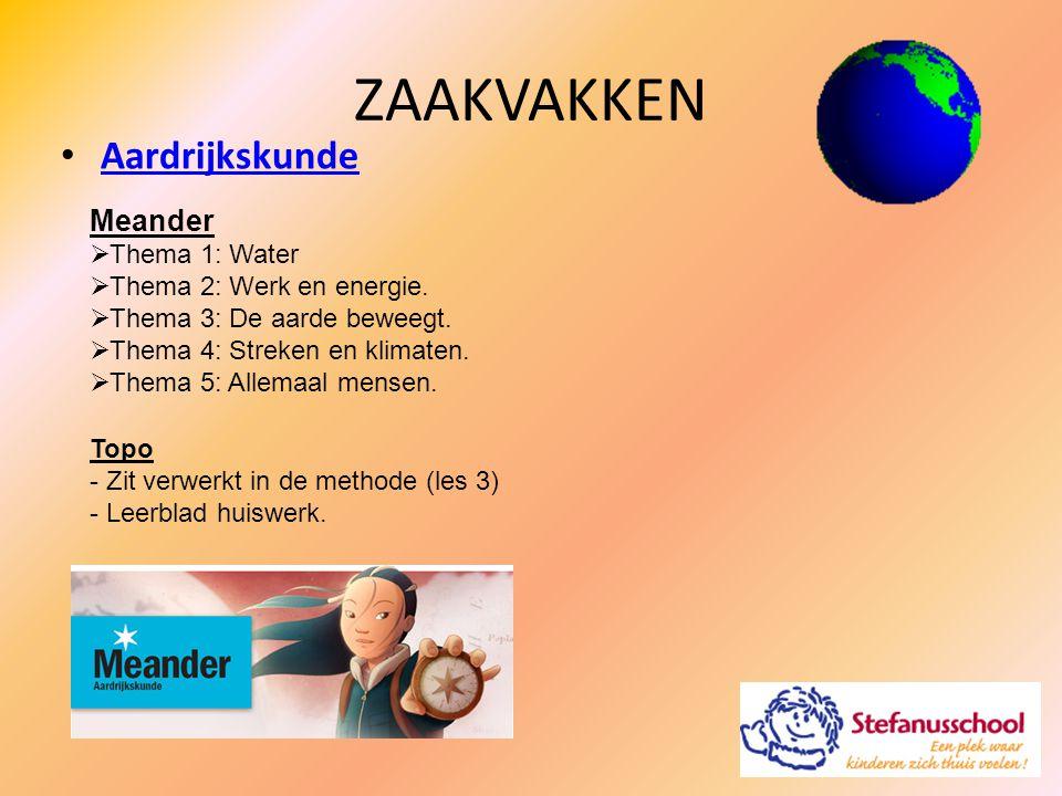 ZAAKVAKKEN Aardrijkskunde Meander  Thema 1: Water  Thema 2: Werk en energie.  Thema 3: De aarde beweegt.  Thema 4: Streken en klimaten.  Thema 5: